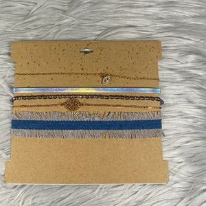 Jewelry - 🆕 Silver, Gold & Blue Five Choker Necklace Set
